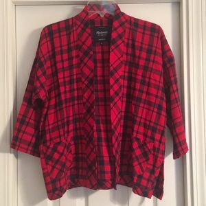 NWOT Madwell Small Red Blue Plaid Flannel Cardigan